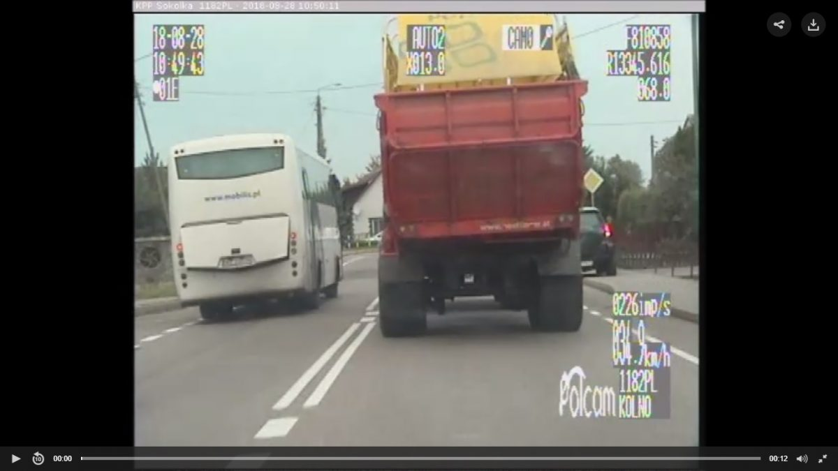 Wariacka jazda kierowcy autobusu zakończona przez policję
